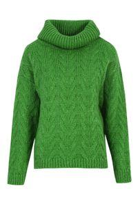 Zielony sweter TOP SECRET z golfem, długi, na wiosnę, w kolorowe wzory