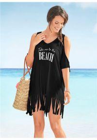 Shirt plażowy z wycięciami i frędzlami bonprix czarny. Okazja: na plażę. Kolor: czarny