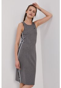 4f - 4F - Sukienka. Kolor: szary. Materiał: dzianina. Wzór: gładki. Typ sukienki: dopasowane