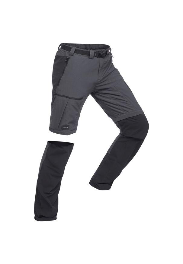 FORCLAZ - Spodnie turystyczne 2w1 - TREK 500 - męskie. Kolor: czarny, szary, wielokolorowy. Materiał: syntetyk, tkanina. Długość: krótkie