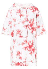 Sukienka dresowa batikowa bonprix biało-pomarańczowy z nadrukiem. Kolor: biały. Materiał: dresówka. Wzór: nadruk