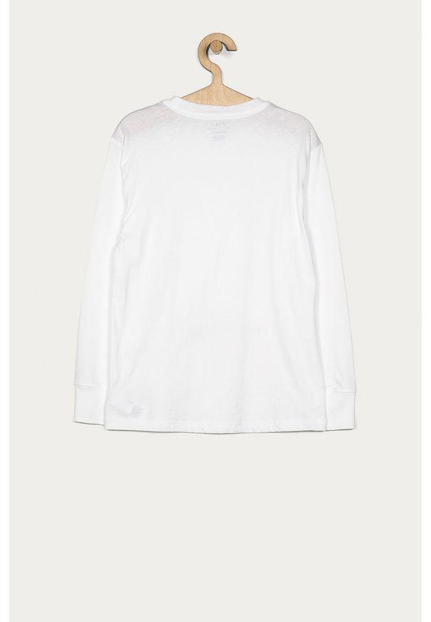 Biała koszulka z długim rękawem Polo Ralph Lauren z okrągłym kołnierzem, casualowa, z nadrukiem