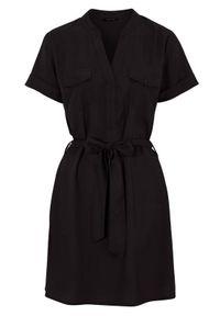 Czarna tunika Happy Holly z dekoltem w serek, casualowa, z krótkim rękawem, krótka