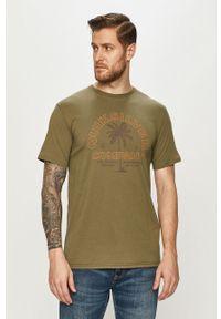 Brązowy t-shirt Quiksilver na co dzień, z nadrukiem, casualowy