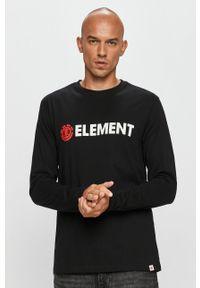 Czarna koszulka z długim rękawem Element z nadrukiem, casualowa, z okrągłym kołnierzem