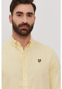 Żółta koszula Lyle & Scott z aplikacjami, na co dzień, długa, button down