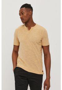 Premium by Jack&Jones - T-shirt. Okazja: na co dzień. Kolor: brązowy. Materiał: dzianina. Wzór: gładki. Styl: casual