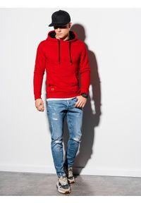 Ombre Clothing - Bluza męska z kapturem B1224 - czerwona - XXL. Typ kołnierza: kaptur. Kolor: czerwony. Materiał: bawełna, poliester