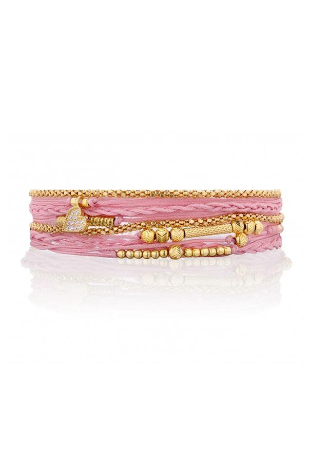 Różowa bransoletka Nayla z cyrkonią, srebrna
