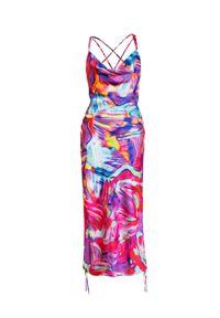 COSEL - Wzorzysta sukienka Anguilla. Kolor: wielokolorowy, różowy, fioletowy. Materiał: materiał. Długość rękawa: na ramiączkach. Długość: mini