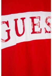 Czerwona koszulka z długim rękawem Guess Jeans casualowa, z aplikacjami, z okrągłym kołnierzem