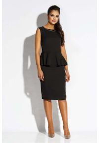 Czarna sukienka wizytowa Dursi ołówkowa, bez rękawów