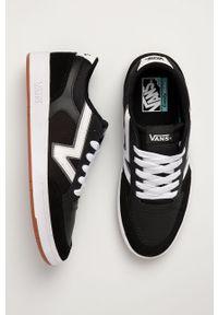 Czarne sneakersy Vans na sznurówki, z cholewką, z okrągłym noskiem