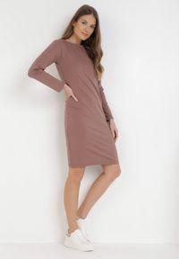 Born2be - Ciemnoróżowa Sukienka Sanya. Okazja: na co dzień. Kolor: różowy. Materiał: bawełna, dzianina, jeans. Długość rękawa: długi rękaw. Typ sukienki: proste, oversize. Styl: casual. Długość: mini