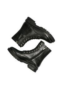 MEXX - Mexx - Botki Booties France. Nosek buta: okrągły. Zapięcie: sznurówki. Kolor: czarny. Materiał: skóra