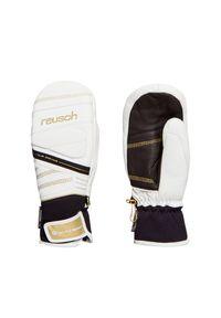 Biała rękawiczka sportowa Reusch narciarska, z aplikacjami