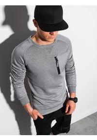Ombre Clothing - Bluza męska bez kaptura B1151 - szary melanż - XXL. Typ kołnierza: bez kaptura. Kolor: szary. Materiał: tkanina, dzianina, poliester, jeans, materiał, bawełna. Wzór: melanż