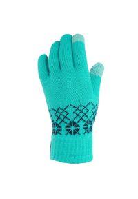 quechua - Rękawiczki turystyczne dotykowe - SH100 - dla dzieci. Kolor: niebieski, zielony, wielokolorowy, turkusowy. Materiał: poliester, włókno, akryl, materiał. Wzór: ze splotem