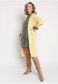 MKM - Niezapinany Długi Ażurowy Kardigan - Żółty. Kolor: żółty. Materiał: bawełna, akryl. Długość: długie. Wzór: ażurowy