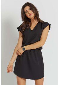 Czarna sukienka wizytowa IVON prosta, na lato