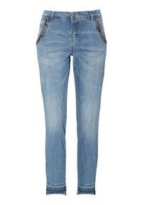 Niebieskie jeansy Cream z aplikacjami, klasyczne, krótkie