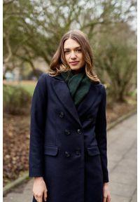 Marie Zélie - Płaszcz Debora granatowy – wełna Nova Fides. Kolor: niebieski. Materiał: wełna. Styl: klasyczny