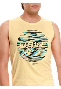 TOP SECRET - T-shirt bez rękawów. Kolor: żółty. Materiał: tkanina, jeans. Długość rękawa: bez rękawów. Długość: długie. Wzór: nadruk. Sezon: lato. Styl: wakacyjny