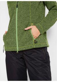 Długa bluza rozpinana z dzianiny polarowej, długi rękaw bonprix matowa zieleń mchu. Kolor: zielony. Materiał: dzianina, polar. Długość rękawa: długi rękaw. Długość: długie