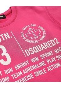 DSQUARED2 KIDS - Różowa bluza 6-12 lat. Kolor: różowy, fioletowy, wielokolorowy. Materiał: jeans, bawełna. Długość rękawa: długi rękaw. Długość: długie. Wzór: nadruk. Sezon: lato. Styl: sportowy