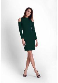 IVON - Zielona Ołówkowa Sukienka na Stójce z Wycięciem w Rękawie. Typ kołnierza: kołnierzyk stójkowy. Kolor: zielony. Materiał: poliester, elastan. Typ sukienki: ołówkowe