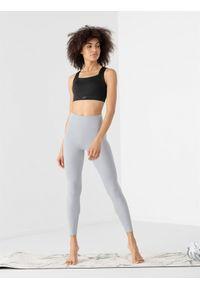 4f - Legginsy do jogi z materiałów z recyklingu damskie. Stan: podwyższony. Kolor: szary. Materiał: materiał. Sport: joga i pilates