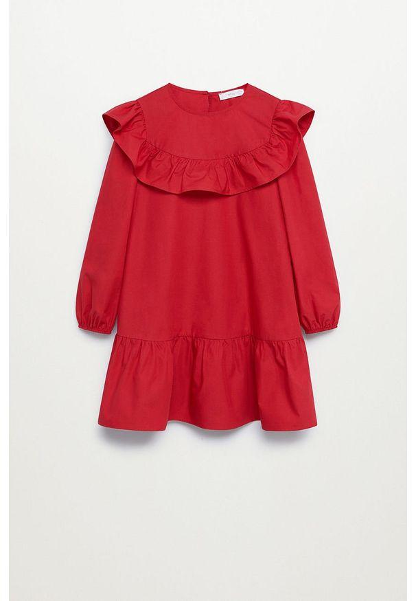 Czerwona sukienka Mango Kids mini, z okrągłym kołnierzem, rozkloszowana