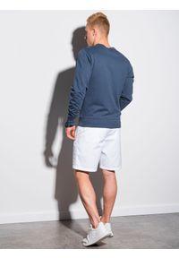 Ombre Clothing - Bluza męska bez kaptura B1153 - ciemnoniebieska - XXL. Typ kołnierza: bez kaptura. Kolor: niebieski. Materiał: poliester, bawełna