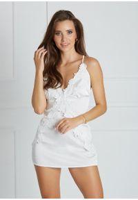 Saintmiss - Koszula nocna z wiązaniem z tyłu // Marianne - L, Biały. Kolor: biały. Materiał: satyna, skóra, materiał, koronka. Długość: krótkie. Wzór: aplikacja