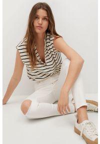 Białe jeansy mango z podwyższonym stanem #8