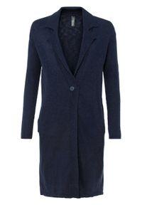 Długi sweter rozpinany bonprix Długi sweter rozpinany ciemnoniebieski. Kolor: niebieski. Długość: długie