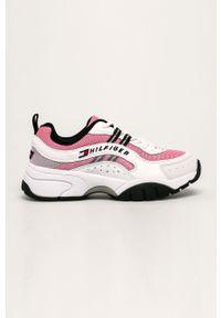 Różowe buty sportowe Tommy Jeans na średnim obcasie, z cholewką