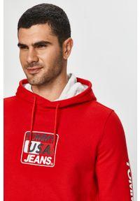 Czerwona bluza nierozpinana Tommy Jeans casualowa, na co dzień, z kapturem, z nadrukiem