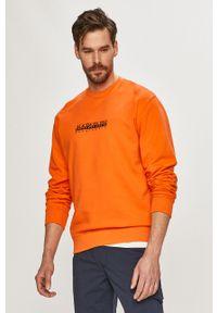 Pomarańczowa bluza nierozpinana Napapijri na co dzień, bez kaptura, casualowa