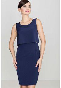 Niebieska sukienka wizytowa Katrus elegancka, na ramiączkach