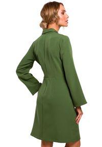 MOE - Żakietowa kopertowa sukienka z wiązaniem w pasie. Materiał: materiał, elastan. Typ sukienki: kopertowe