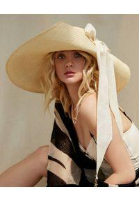 LESHKA - Kapelusz z szerokim rondem i wstążką Grande Bow Hat. Kolor: beżowy. Materiał: len. Wzór: aplikacja