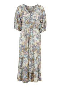 Cream Wzorzysta sukienka z wiskozy Dusta niebieski we wzory female niebieski/ze wzorem 42. Typ kołnierza: dekolt w serek. Kolor: niebieski. Materiał: wiskoza. Typ sukienki: kopertowe