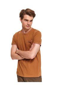 Brązowy t-shirt TOP SECRET z krótkim rękawem, casualowy, na co dzień, na jesień