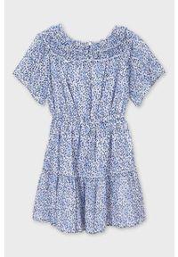 Niebieska sukienka Mayoral rozkloszowana, z krótkim rękawem, mini