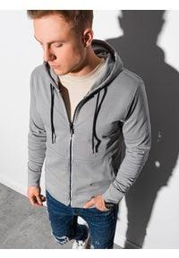 Ombre Clothing - Bluza męska rozpinana z kapturem B1152 - szara - XXL. Typ kołnierza: kaptur. Kolor: szary. Materiał: bawełna, poliester