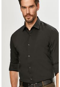 Czarna koszula Hugo długa, gładkie, z długim rękawem, z klasycznym kołnierzykiem