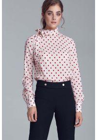 Kremowa bluzka z długim rękawem Nife z kokardą