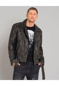 ONETEASPOON - Skórzana kurtka. Kolor: czarny. Materiał: skóra. Wzór: nadruk. Styl: vintage