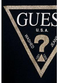 Niebieska bluzka Guess Jeans z okrągłym kołnierzem, casualowa, na co dzień, z nadrukiem